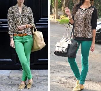 Pantalón Verde con Estampados Animal Print
