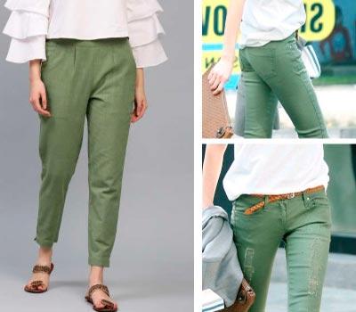 pantalón verde con blanco
