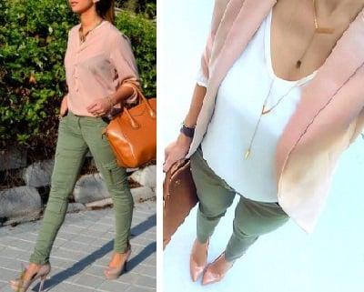 Pantalón Verde con Rosa